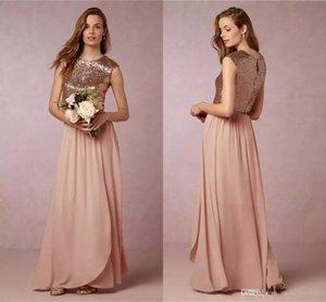 2017 Rose Gold Two Pieces Sequins Vestidos de Dama de Honor de Gasa Hasta el Suelo Vintage Largo Prom Vestidos de Fiesta Por Encargo