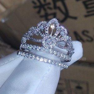 حجم العلامة التجارية 5-10 مجوهرات الياقوت الأبيض تشيكوسلوفاكيا مقلد الماس 925 الفضة الاسترليني خطوبة زفاف ولي خاتم مجموعة