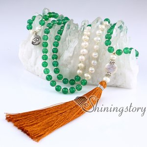 collana di perle d'acqua dolce mala collana di perline 108 mala braccialetto indiano perline di meditazione perle di meditazione gioielli di perle online