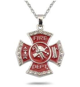 20 teile / los Emaille Rotes Feuer Dept Abzeichen Charme Gliederkette Anhänger Halsketten Rhodium Überzogen Für Schmuck Machen