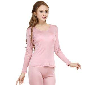 Al por mayor-100% de seda verdadera de las mujeres Long Johns Set Ladies Warm Clothing Femme ropa interior térmica Establece trajes de cuerpo femenino Mujeres Long Johns