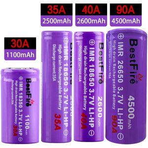 أصيلة Bestfire 26650 18650 18350 Best Fire Disharge 3.7v Li-ion Battery Hight Drain Rechargeable Battery 4500/3000/2600/2500 / 1100mAh