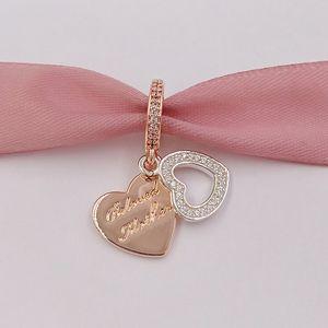 925 granos de plata esterlina colgante Amada Madre se adapta al estilo europeo joyería de Pandora collar de las pulseras 781883CZ Rose plateó
