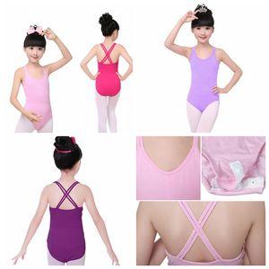 spaghetti strap Kids Girls Sleeveless Ballet gymnastic Bodysuit Leotard for girls Cotton Dance Suit Jumpsuit free fast shipping
