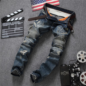 All'ingrosso-Baggy Hip Hop Patch Uomini Retro Jeans Ginocchio Rap Hole jeans con cerniera Jeans Uomo Sciolto Slim Distrutto Strappato Seretch Strappato Denim Man Pant
