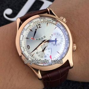 고품질 마스터 컨트롤 Q1522420 파워 리저브 화이트 다이얼 자동 시계 로즈 골드 Leater 스트랩 저렴한 새 Gents 시계