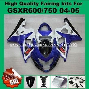 Carenados de inyección para SUZUKI K4 K5 GSXR600 GSXR750 2004 2005 GSX-R600 GSX-R750 04 05 GSXR 600 750 Carenado azul blanco negro # 3P81 9Gifts