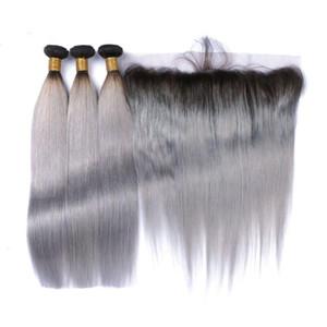 8A Meilleur Ombre Vierge Cheveux gris 1B Peruvian droite Ombre de cheveux humains Weave 3 Bundles 1B avec dentelle grise Frontal avec des cheveux de bébé