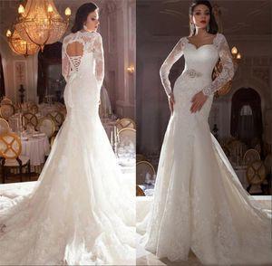 Sexy Lace Applique Querida Bling frisada Sash Ivory Sereia Abrir Voltar vestidos de noiva Capela Train Moda manga comprida vestidos de casamento