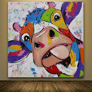 Incorniciato mucca colorata, dipinto a mano astratto moderno della decorazione della parete animale del fumetto pop art pittura a olio di spessore canvas.Mulit formati spedizione gratuita c051