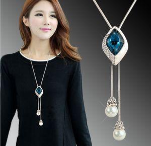 Semplice signora accessori abbigliamento ciondolo ornamento diamante gemma maglione geometrica collana di perle