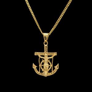 Nuovo punk stile crocifisso Gesù croce timone ancoraggio collana pendente in oro acciaio inossidabile hip hop gioielli articoli all'ingrosso