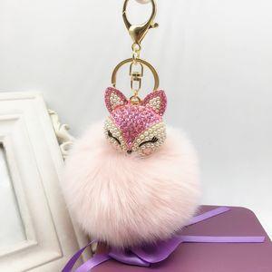 Hot wholsale adorável bola de pêlo de raposa grande pompon chaveiro anel de cadeia de strass bolsa bolsa pingente chaveiro para namorada presente amigo