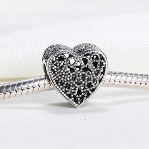 En gros 925 Sterling Silver Non Plaqué Mignon Romance Ajouré Coeur CZ Charmes Européennes Perles Fit Pandora Serpent Chaîne Bracelet DIY Bijoux