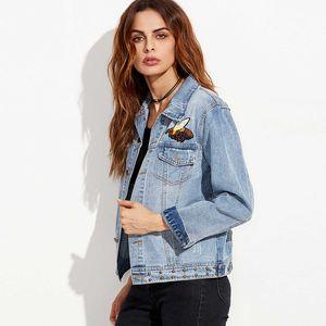 Ropa Denim Women Jacket Bottons Blue Outwear básico para mujer Casual Animal bordado suelta abrigo femenino