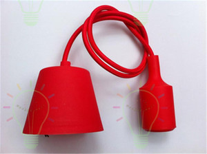 Renkli muuto Retro Resimler Dekor Silikon E27 kolye Lamba Tavan ampul Tutucu Askılı aydınlatma armatür baz Soket modern silika jeli