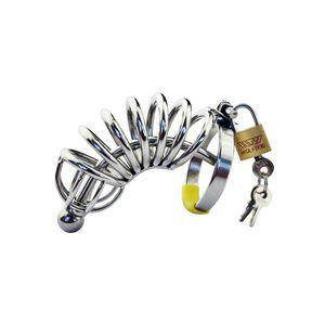 Cage de chasteté en acier inoxydable pour hommes courbé Cathéter urétral Large dispositif de ceinture de verrouillage pour tube de drain en métal DoctorMonalisa CC007