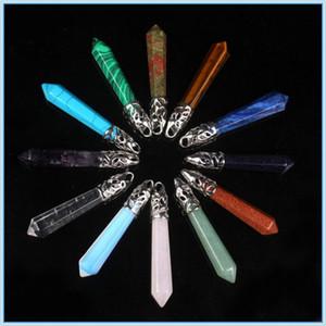 Colares Pingentes Prisma Hexagonal Pedra Preciosa Rocha Natural De Cristal De Quartzo Cura Ponto Chakra Encantos De Pedra Colares Colares para As Mulheres-0580WH