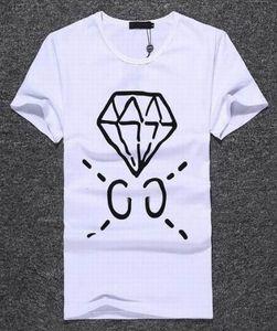Teklif!! 2017 erkek pamuk T-Shirt Elmas Baskı İtalyan tshirt Yaz Spor t gömlek Erkekler Hip Hop Tees