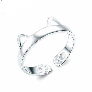 Genuine 925 Sterling Silver Lovely Cat Anelli Gioielli per le donne Belle gioielli ragazze anello regolabile regali di nozze
