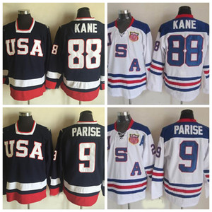 2010 Олимпийская команда США США Хоккейные изделия 88 Patrick Kane 9 Zach Priise Белый военно-морской синий США сшитые хоккейной джерси S-XXXL