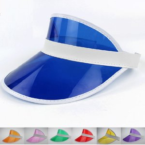 Wholesale - New women transparent pvc sun hats sunscreen hat elastic hats travel essential visors Multi color CA044