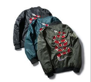 Neue 2017 Männer Rib Sleeve Gestickte Schlange Mode Hochwertige Paar Baseball Mäntel Jacken Abstrakte digitale Mantel