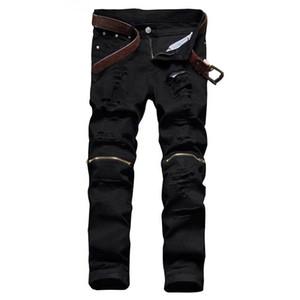 Moda Uomo Jeans Strappato Nero Pantaloni Cerniera Zipper Slim Fit Distressed Jean Pantaloni Straight Denim strappati Denim Joggers Maschio