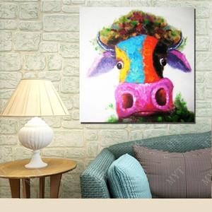 مؤطرة الأبقار الملونة رئيس مرسومة باليد الحديثة ديكور المنزل جدار الكرتون الحيوان النفط فن الرسم على Canvas.Multi أحجام شحن مجاني C048