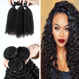 Crespe brasiliane Curly Hair Extensions 3 pacchi Afro crespo Hair Style Natural Color fuori dal nero umani del Virgin tessuto completo soft 8-30 pollici