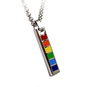 Pendentif en acier inoxydable titane classique MCW Pendentif en forme d'arc-en-ciel rectangle LGBT pour démonstration de défilé de bijoux de fierté gaie et lesbienne