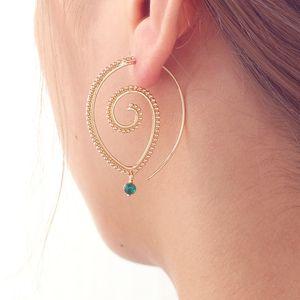 Bohemia personalidad ronda espiral pendientes de gota exagerada oro plata Whirlpool Gear pendientes para mujeres regalos de la joyería