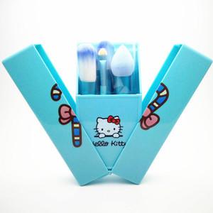 Top Qualité Bonjour Kitty 8 Pcs Ensemble Maquillage Pinceau Outils de Maquillage Professionnel Boîte De Rangement Portable Ensemble Complet Livraison Gratuite