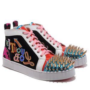 [Caixa original] Homens Sapatos Sneaker Inferior Vermelho Spikes No Limit Strass Couro Sapatos de Festa de Casamento, Spikes Lace-up Sapatos Casuais Multicolor Mulheres
