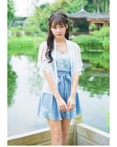 Новый стиль Хань Китайский Новый оригинальный пыльный вышивка hanfu для ежедневного короткими рукавами женская юбка-тройка