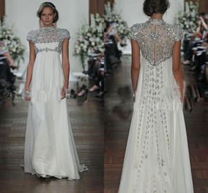 2017 robes de soirée en mousseline de soie ivoire brillant col haut manches courtes robes de soirée avec des robes de bal en cristal illusion retour