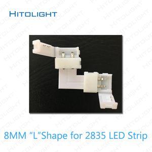 HITOLIGHT 20pcs / lot 2PIN L 형 / T 형 / 8mm 2835 / 10mm 5050 단색 LED 스트립 용 커넥터 2PIN ~ 2PIN 커넥터 무연