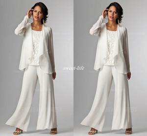 Fildişi Beyaz Şifon Lady Anne Pantolon Takım Elbise Anne Gelin Damat anne gelin Pant Ceket Kadın Parti Elbiseler Pantolon Ile Suits suits