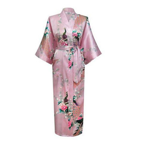 Wholesale- 2017 Sexy Japanese Flower Kimono Dress Gown Lingerie Bathrobe Long Robes Sleepwear Sauna Costume Plus Size