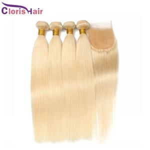 En iyi Düz İnsan Saç 3 Demetleri Dantel Kapatma Ile Bakire Malezya Sarışın 613 Kapanışlar ve Saç Uzantıları Ucuz Sarışın Örgü Kapatma