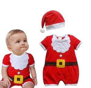 베이비 핫 세일 크리스마스 키즈 Romper with Hat Badysuits 유아 코튼 점프 슈트 유아 가을 크리스마스 Romper