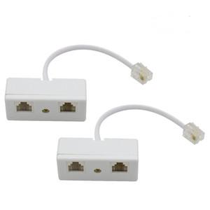 RJ11 6P4C Plug to 2-Way RJ11 Dual Female Secondary Splitter Socket Adapter for Landline Telephone Modular Phone Cable Separator Jack Filter