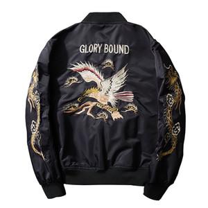 2017 Nueva Primavera Negro Bordado Yokosuka Japón Jacket Hombres Streetwear Ropa de Marca