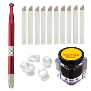 Maquillaje de cejas semipermanente Microblading Manual Tattoo Pens + 18 Pines Needles + Ring Ink Cup + Tattoo-Ink envío gratis