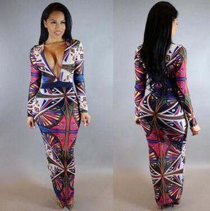 Irregular Large Size Digital Print Sexy Dress Bohemian Slim V-neck Long Dress Casual Long Sleeve Party Dress