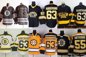 Factory Outlet Neuankömmlinge-Männer Boston Bruins # 55 Boychuk # 63 Brad Marchand # 68 Jagr Schwarz Weiß Gelb Eishockey Trikots Kostenloser Versand