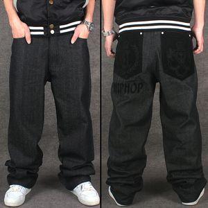 Großverkauf-2016 Lastest Designer Hip Hop Baggy Jeans Männer Schwarz Denim Jeans Hosen Lose Fit Streetwear Berühmte Marke Plus Größe 30 Bis 44 46