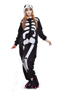 2017 Unicorn Skull Skeleton Unisex Flannel Hoodie Pajamas Anime Costumes Cosplay Animal Kigurumi Onesies Sleepwear Costume One Piece Pajamas