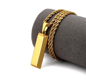 Homens Cubo Bar Bullion Colar Pingente de Ouro Hip Hop Dança Charme Franco Torcido Cadeia Hip Hop Jóias de Ouro