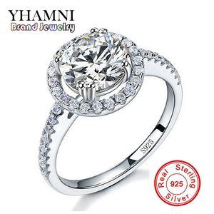 여자 2 라운드 캐럿 CZ 다이아몬드 실버 약혼 반지 YHAMNI 럭셔리 원래 925 실버 쥬얼리 반지 도매 JYT1